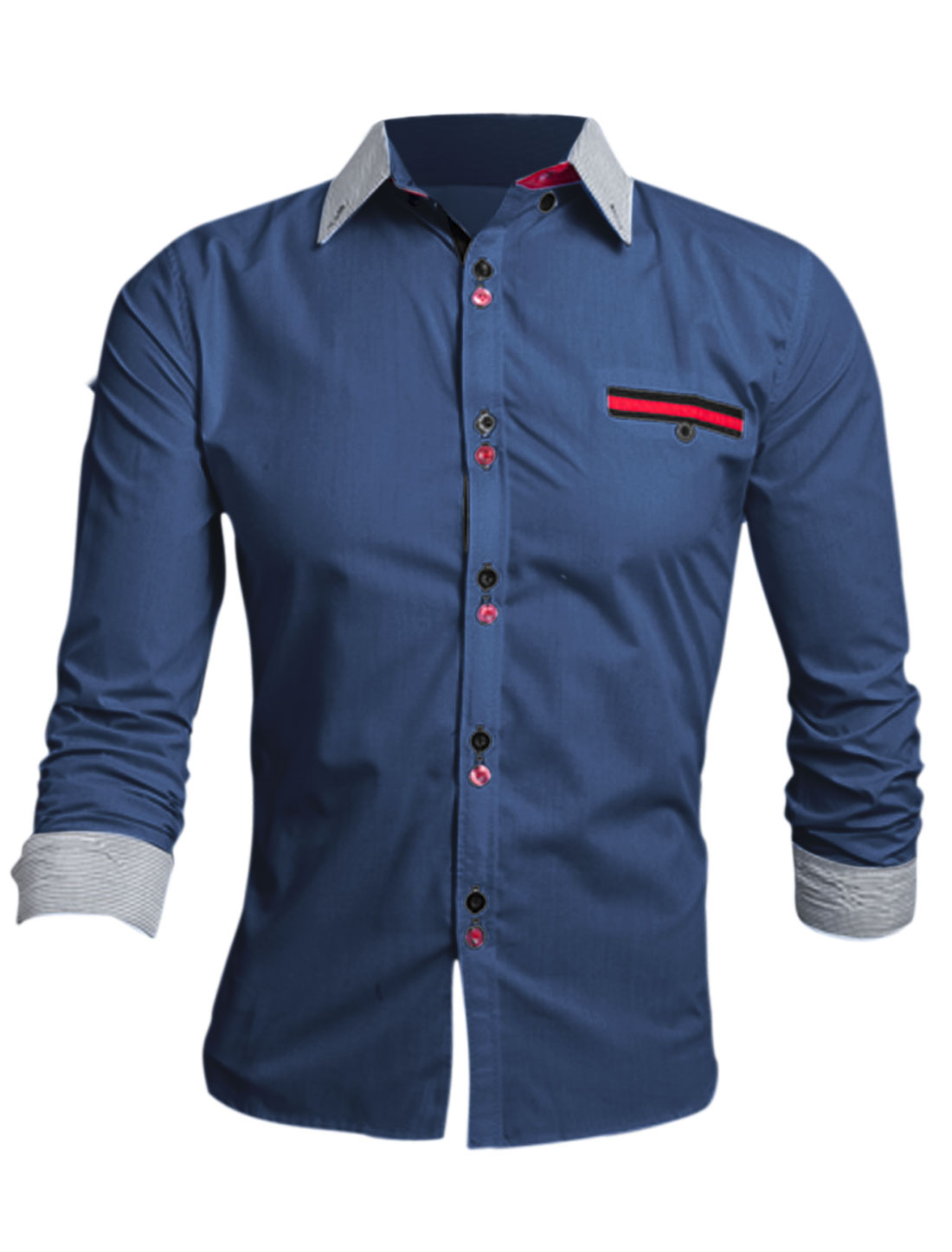 Men Navy Blue Single Breasted Long Sleeves One Mock Pocket Fashion Shirt M