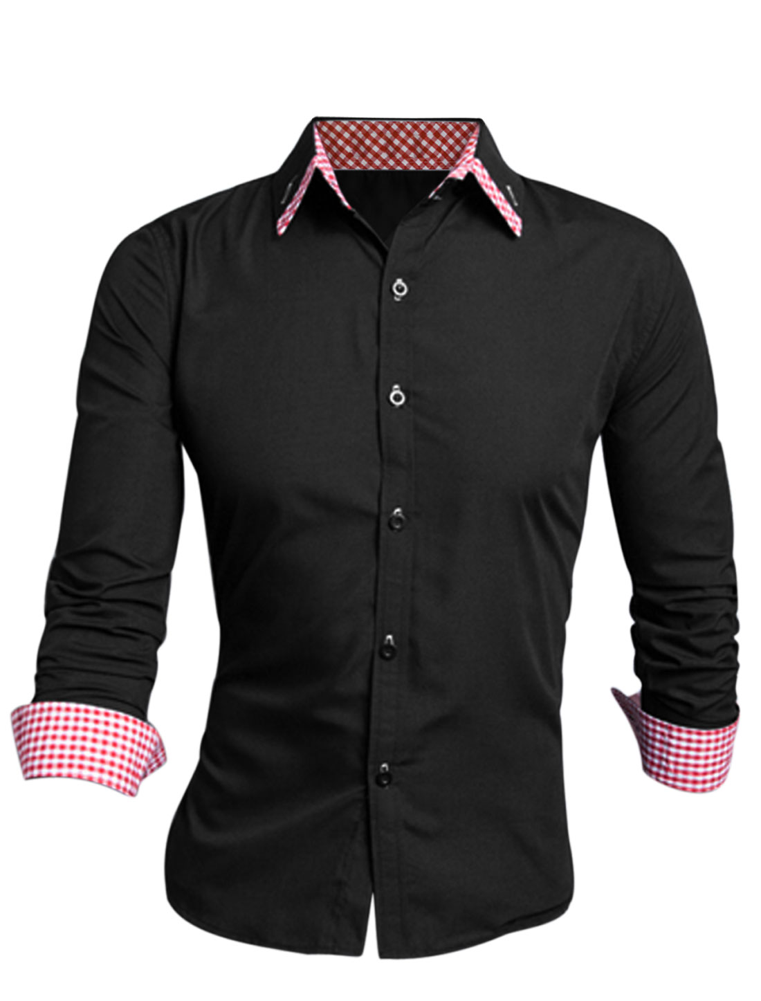 Men Point Collar Long Sleeve Button Cuffs Casual Shirt Black Red M