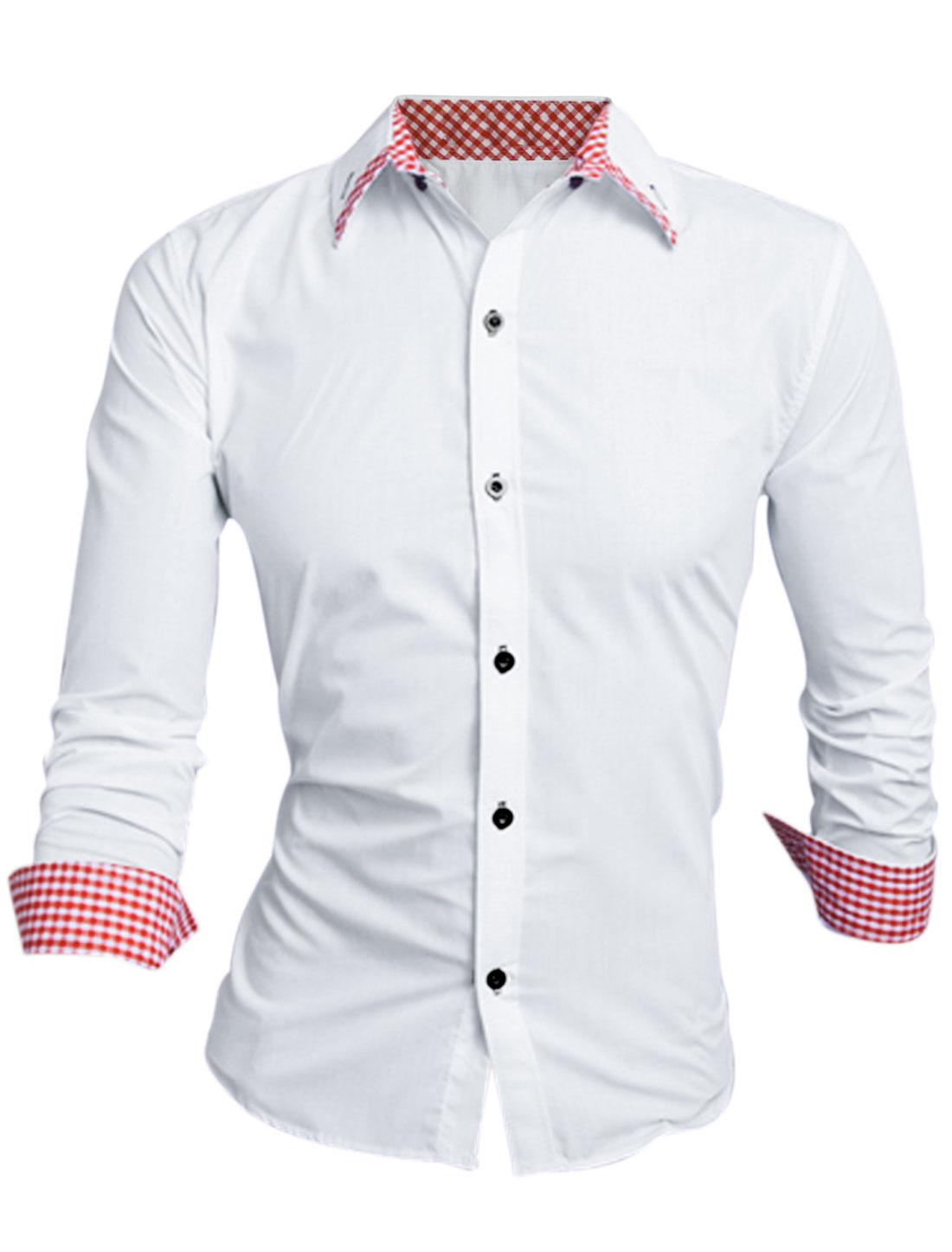 Men Point Collar Button Closure Button Cuffs Leisure Shirt White Red M