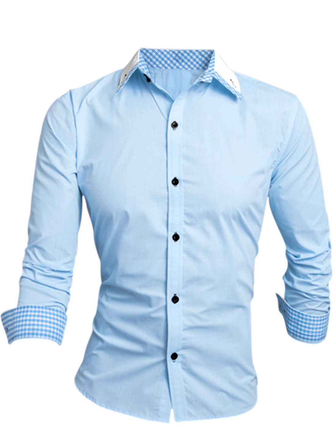 Men Point Collar Checks Detail Button Cuffs Leisure Shirt Blue Light Blue M