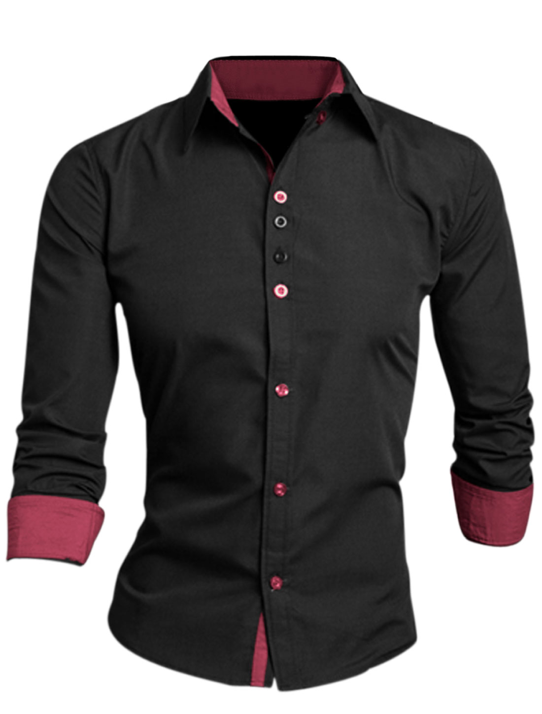 Man Black Long Sleeves Point Collar Single Breasted Button Cuffs Shirt M
