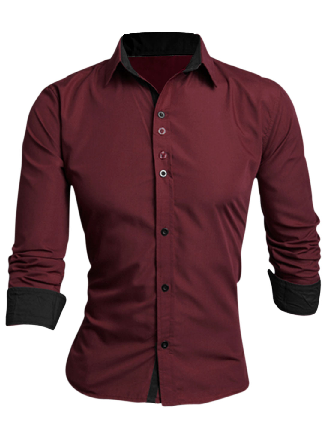 Man Burgundy Long Sleeves Single Breasted Slim Fit Casual Shirt M