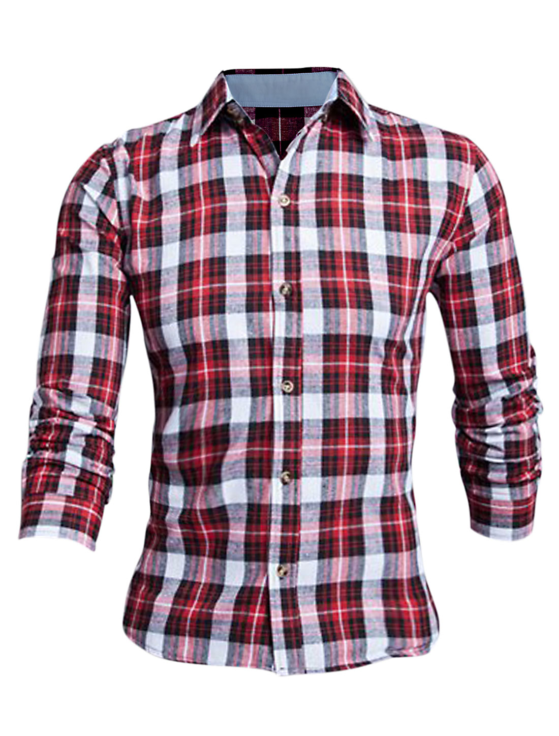 Men Red Long Sleeves Point Collar Button Closure Plaids Slim Fit Shirt M