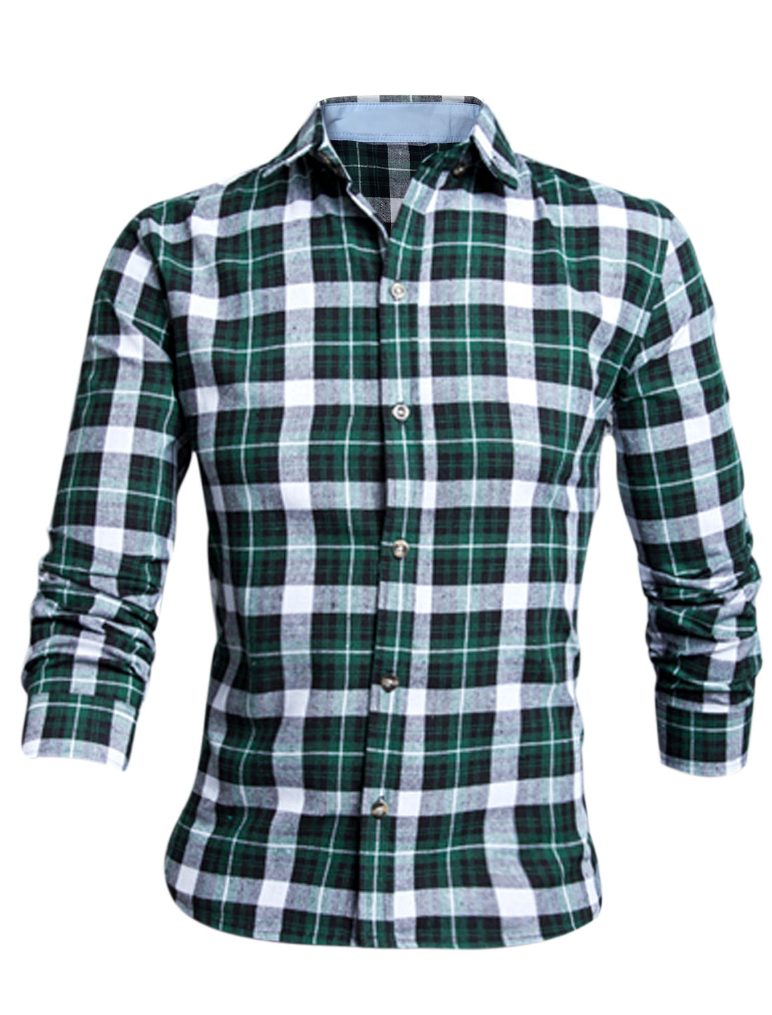 Men Dark Green Long Sleeves Point Collar Button Down Plaids Slim Fit Shirt M