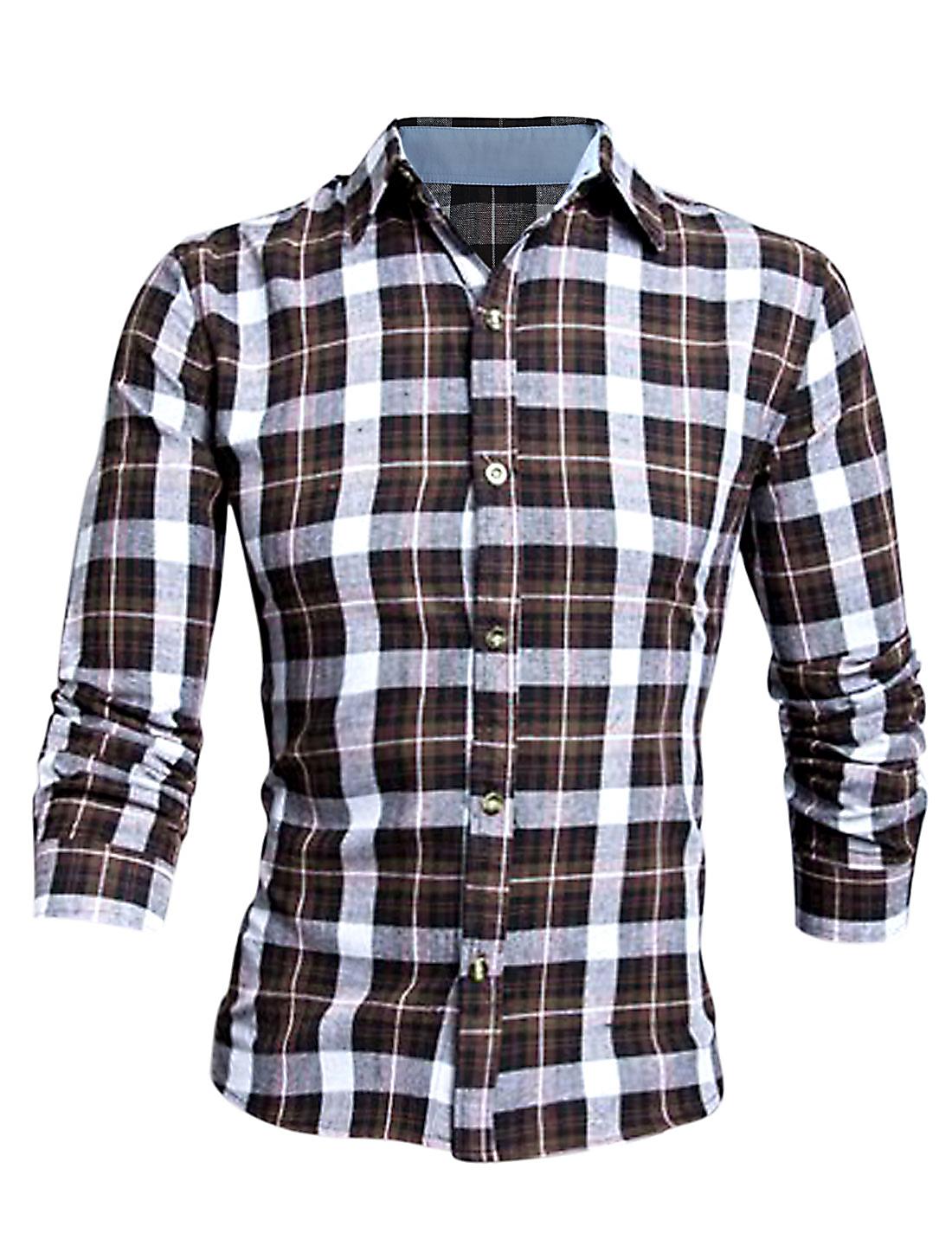 Men Dark Brown Point Collar Single Breasted Plaids Button Cuffs Shirt M
