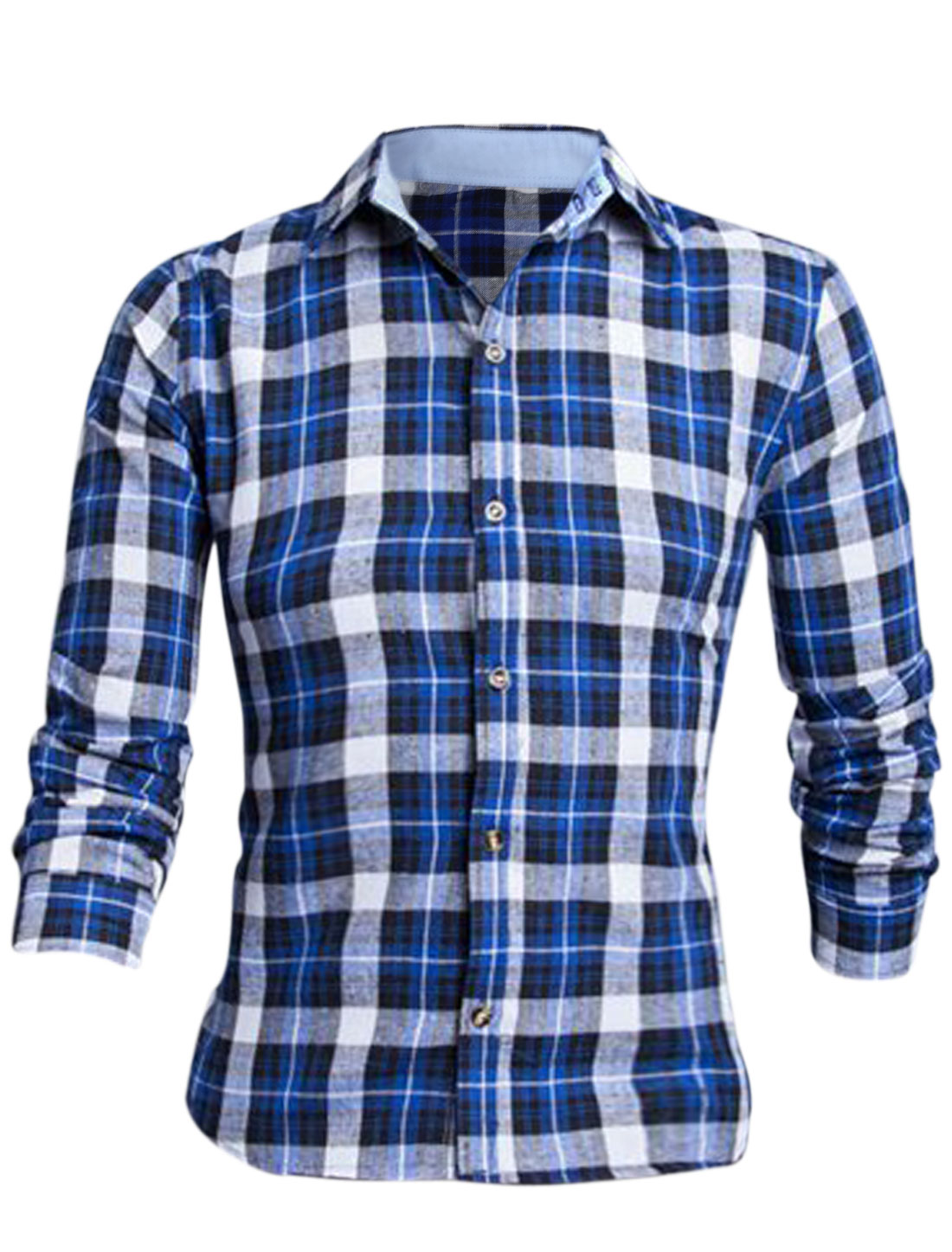 Men Royal Blue Long Sleeves Single Breasted Plaids Slim Fit Leisure Shirt M