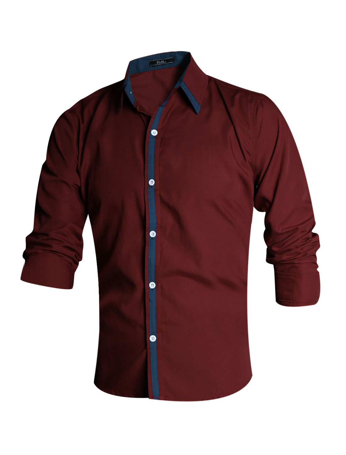 Men Burgundy Single Breasted Point Collar Contrast Color Detail Shirt M