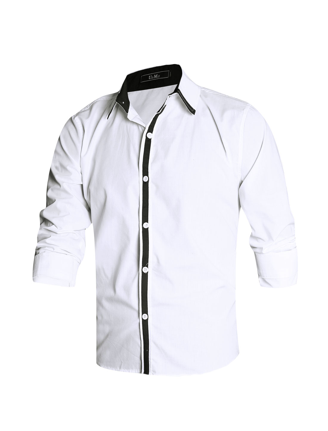 Men White Button Cuffs Color Block Detail Slim Fit Leisure Shirt M
