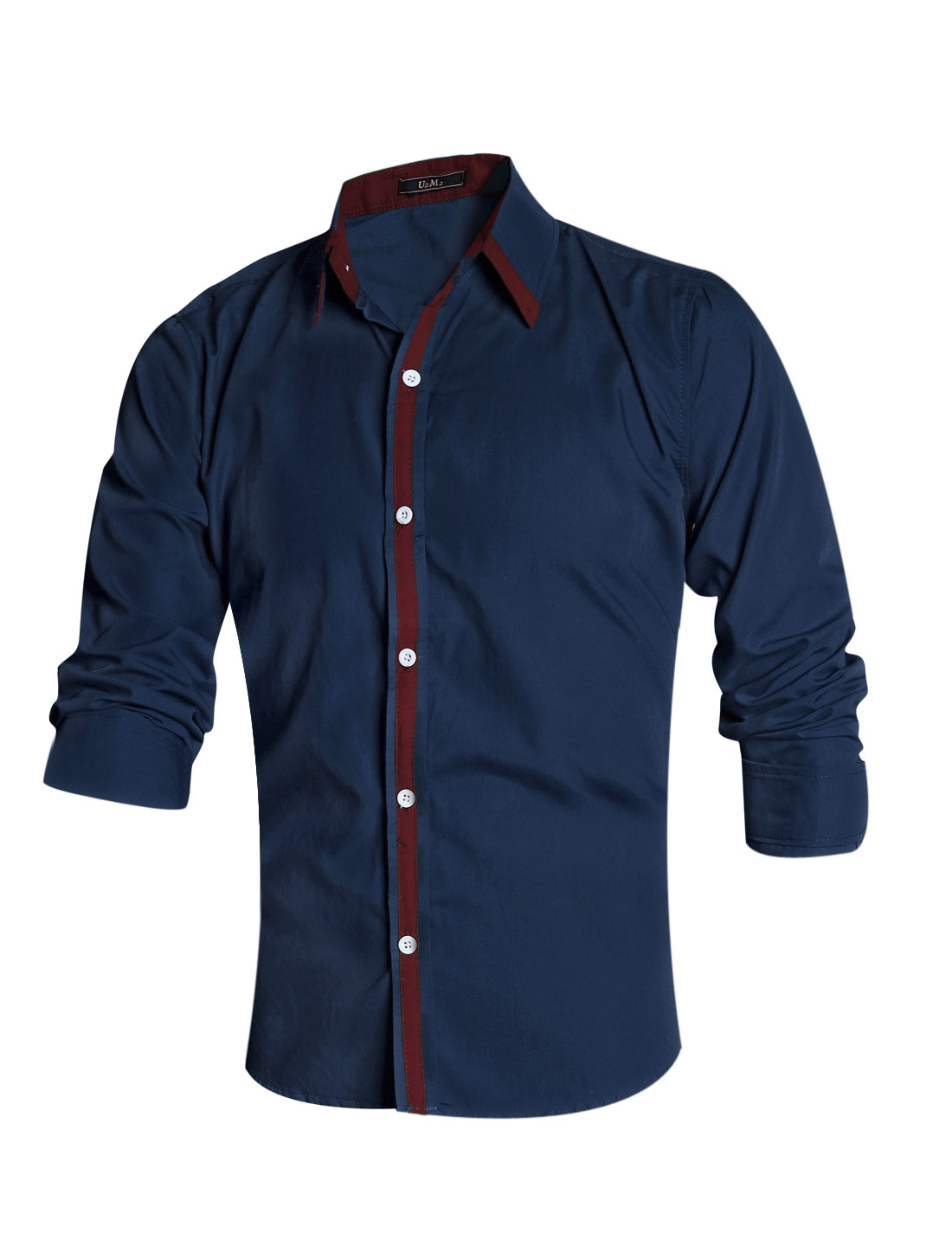 Men Navy Blue Single Breasted Contrast Color Detail Slim Fit Casual Shirt M