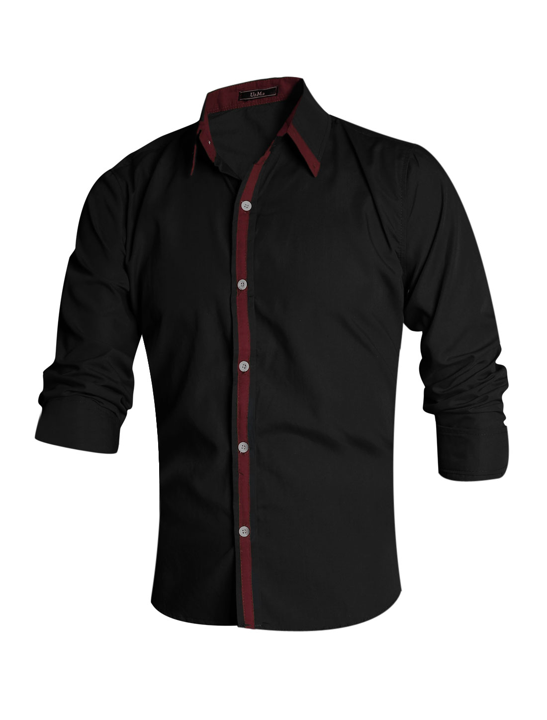 Men Black Single Breasted Slim Fit Contrast Color Detail Leisure Shirt M