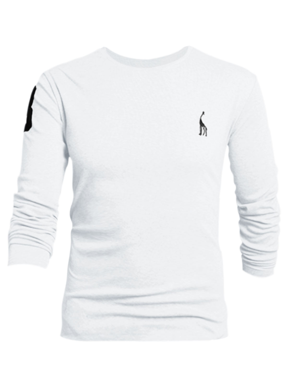 Men Long Sleeves Number Applique Casual Soft T-Shirt White L