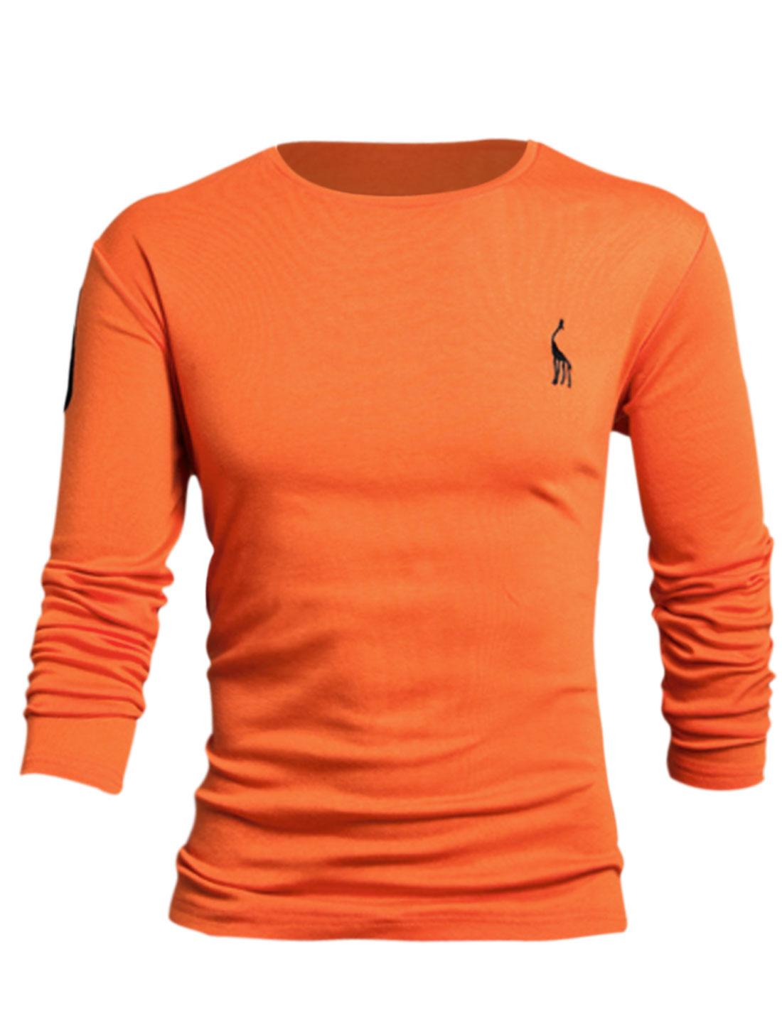 Men Deer Embroidery Number Applique Casual Soft Tee Shirt Orange L