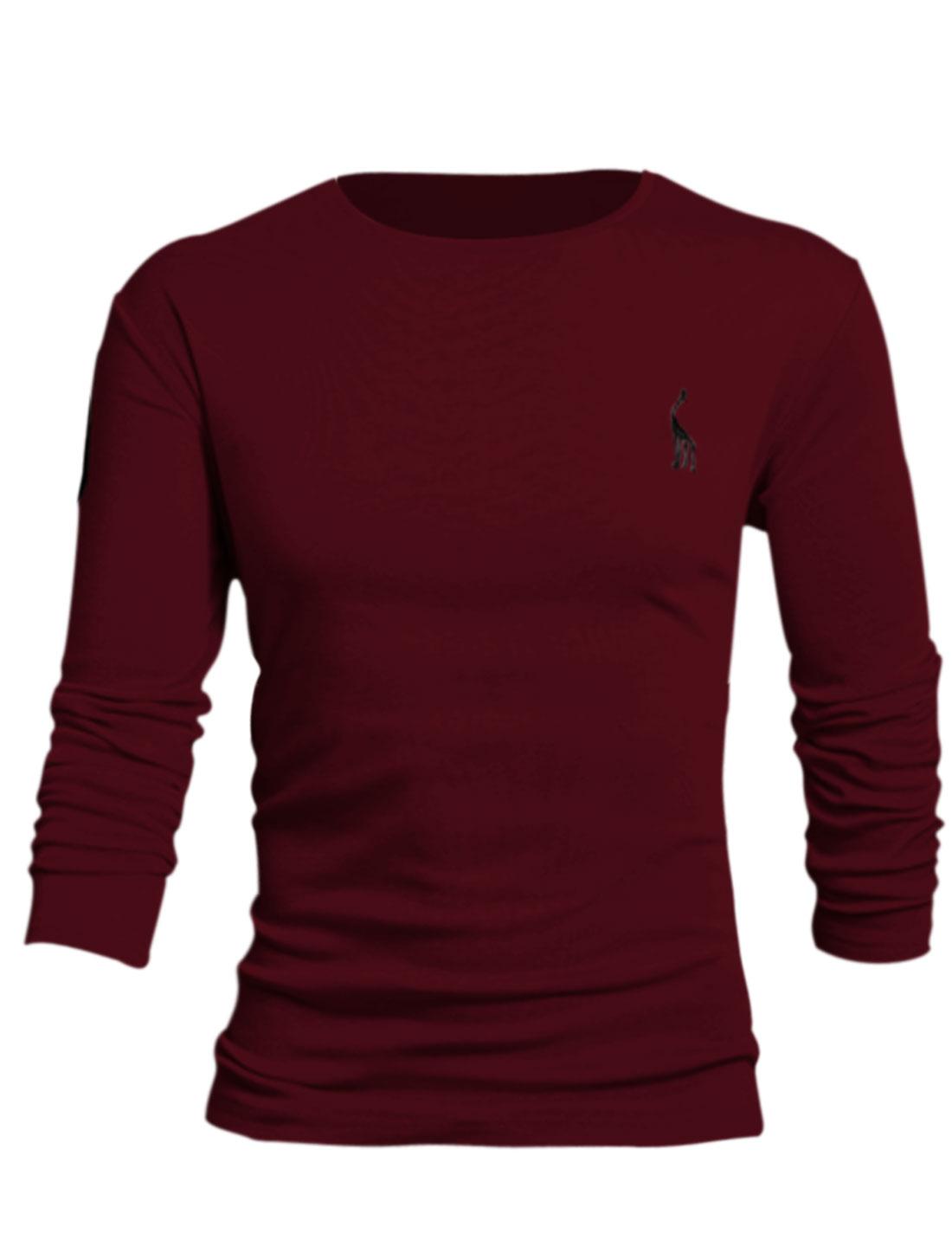 Men Deer Embroidery Slipover Design Stylish Style Tee Shirt Burgundy L