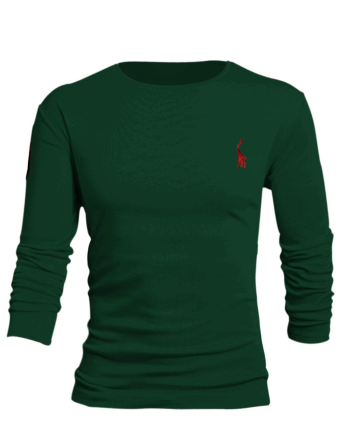 Men Number Applique Slipover Design Stylish Style Tee Shirt Dark Green L