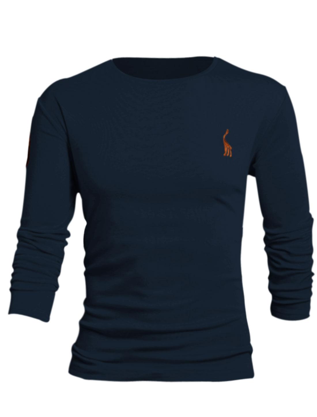 Men Number Applique Slipover Design Cozy Fit Tee Shirt Navy Blue L