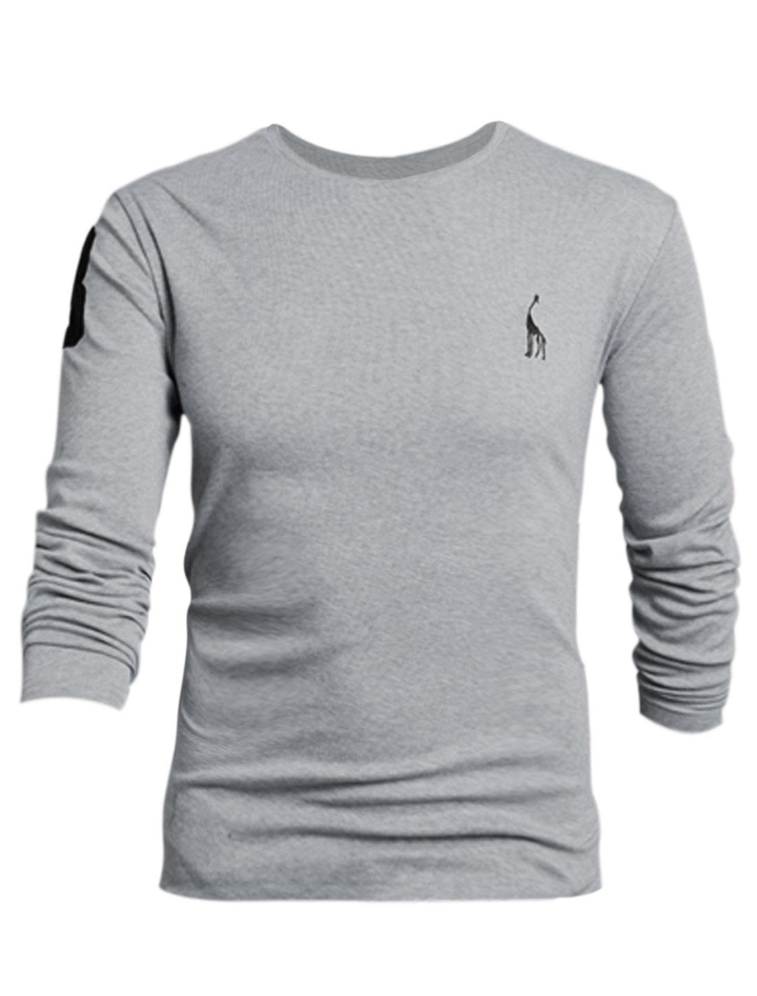 Men Deer Embroidery Slipover Design Cozy Fit Tee Shirt Light Gray L