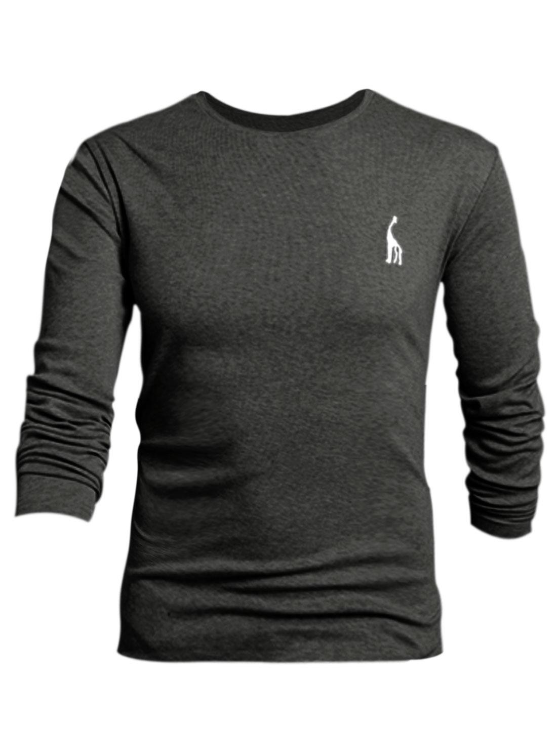 Men Number Applique Slipover Design Slim Fit Tee Shirt Dark Gray L