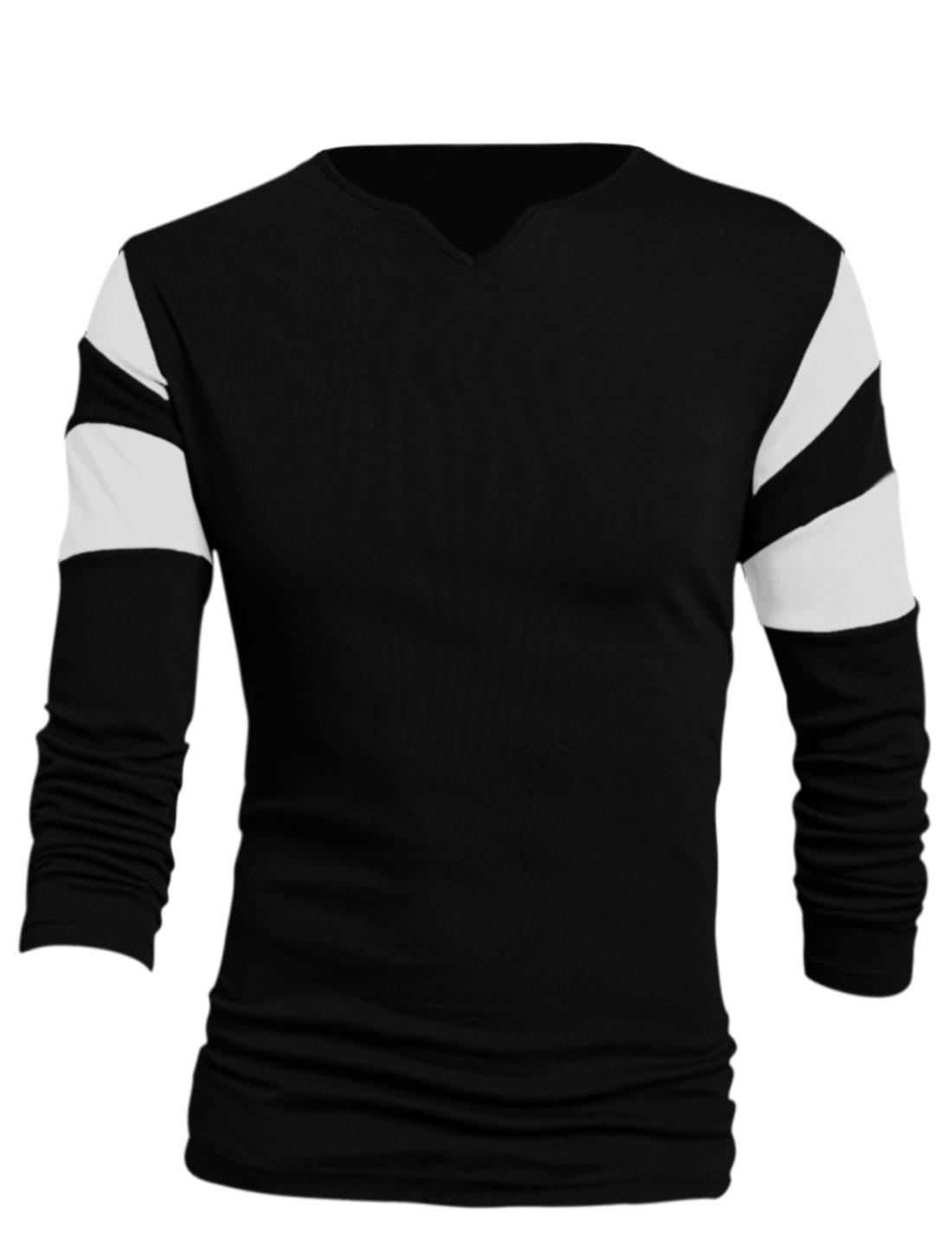 Men Black Long Sleeves V Neck Contrast Color Detail Leisure T-Shirt L