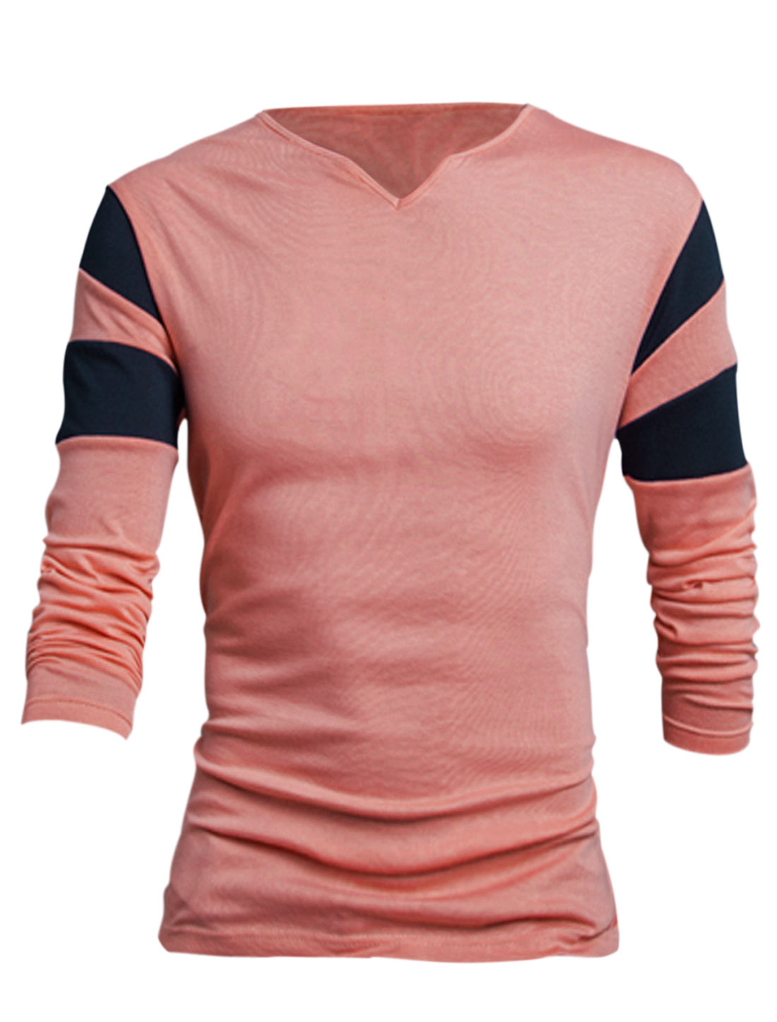 Men Pink Pullover V Neck Contrast Color Detail Leisure T-Shirt L