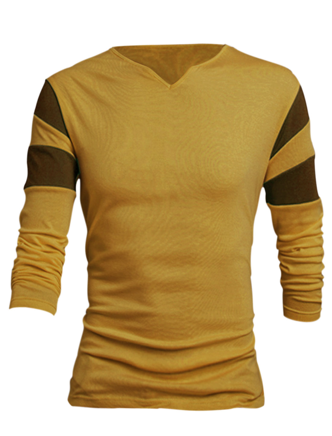 Men Yellow Long Sleeves Pullover Color Block Detail Leisure T-Shirt L