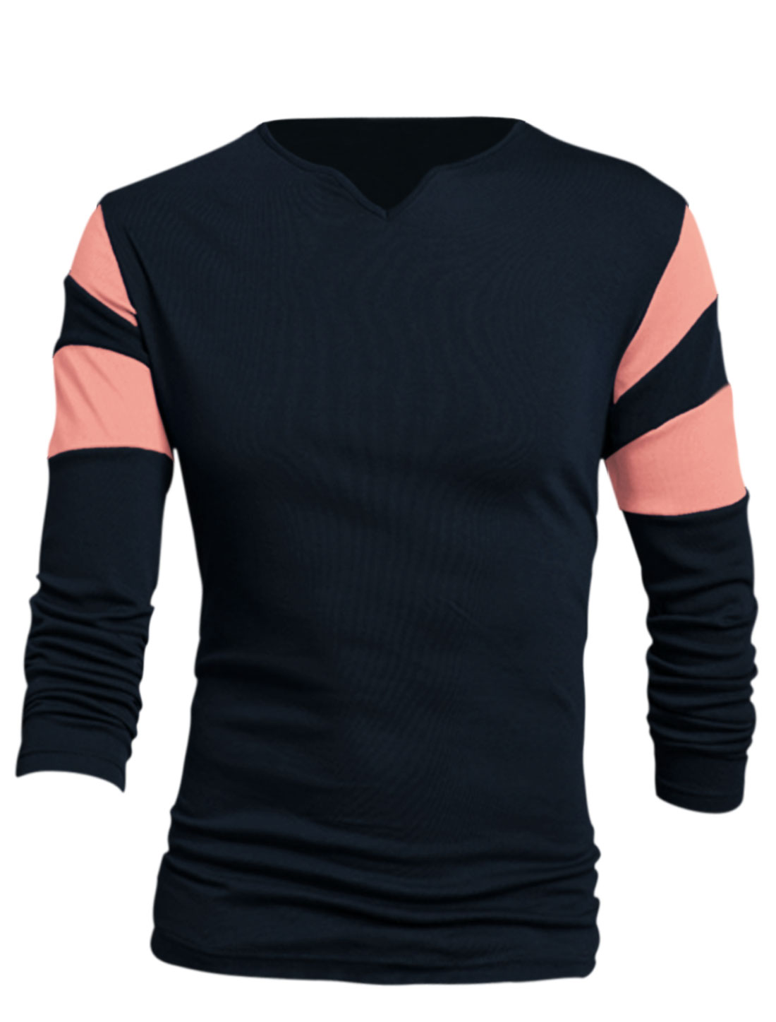 Men Navy Blue Contrast Sleeves Pullover New Style Leisure T-Shirt L