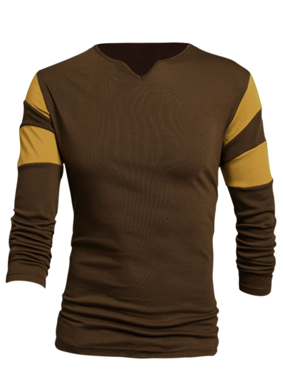 Men Brown Contrast Color Detail Slim Fit Leisure T-Shirt L