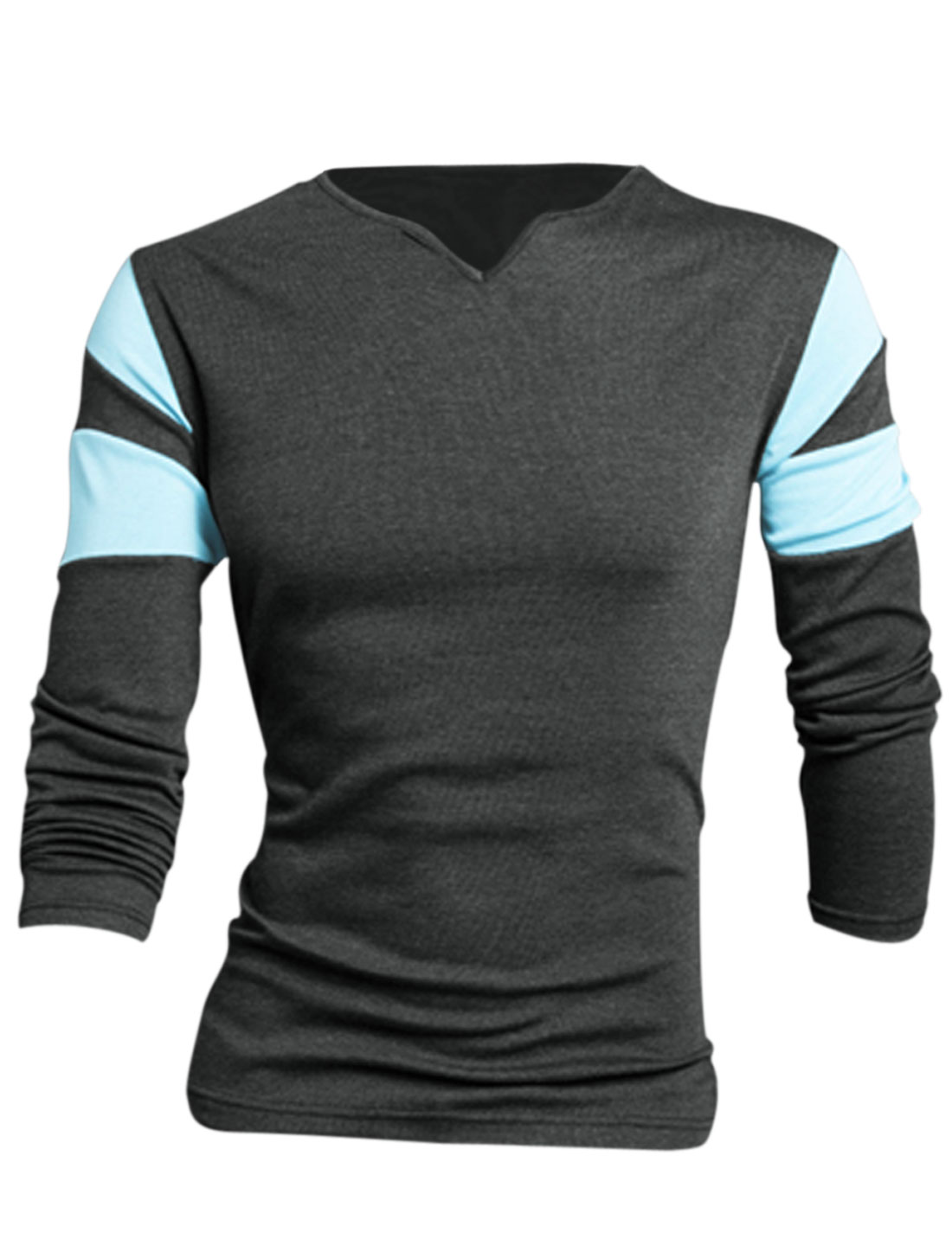 Men Dark Gray Full Sleeves Slipover Color Block Detail Leisure T-Shirt L
