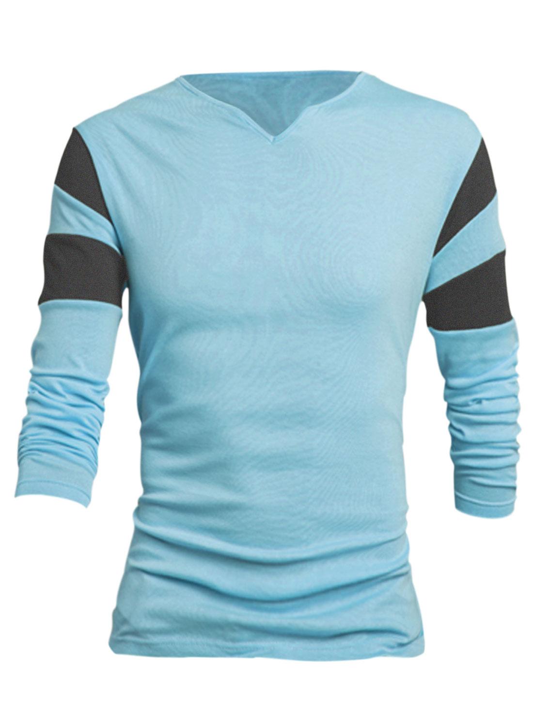 Men Light Blue Pullover Color Block Detail Slim Fit Casual T-Shirt L