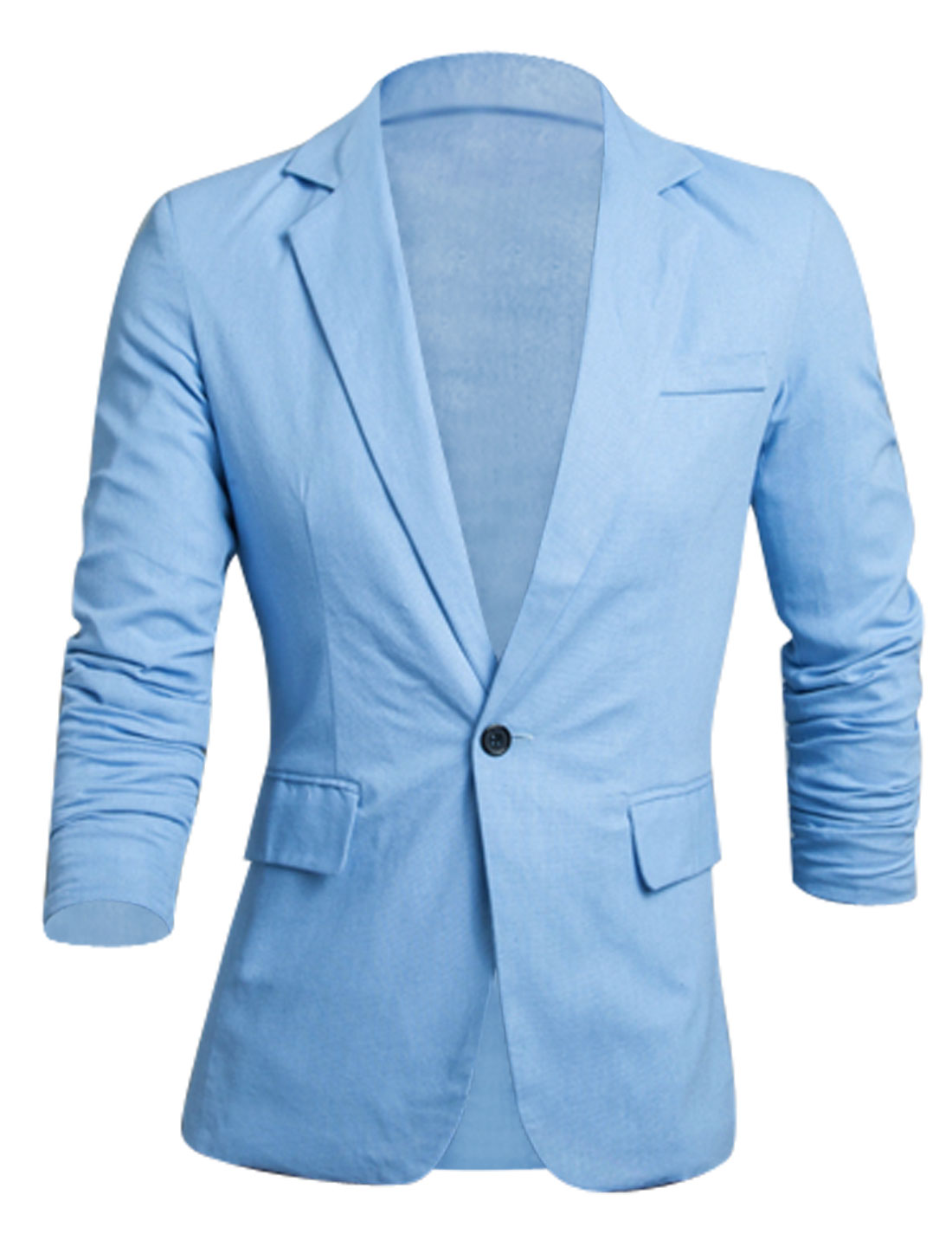 Men Notched Lapel One Button Padded Shoulder Slim Cut Linen Blazer Sky Blue M