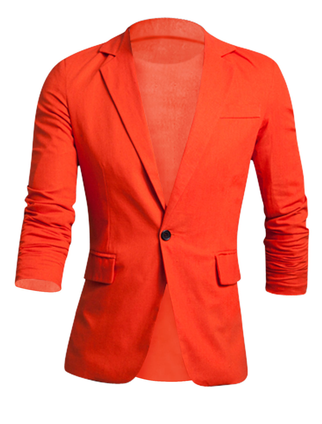 Men Newly Padded Shoulder Fake Chest Pocket Slim Cut Linen Blazer Orange M