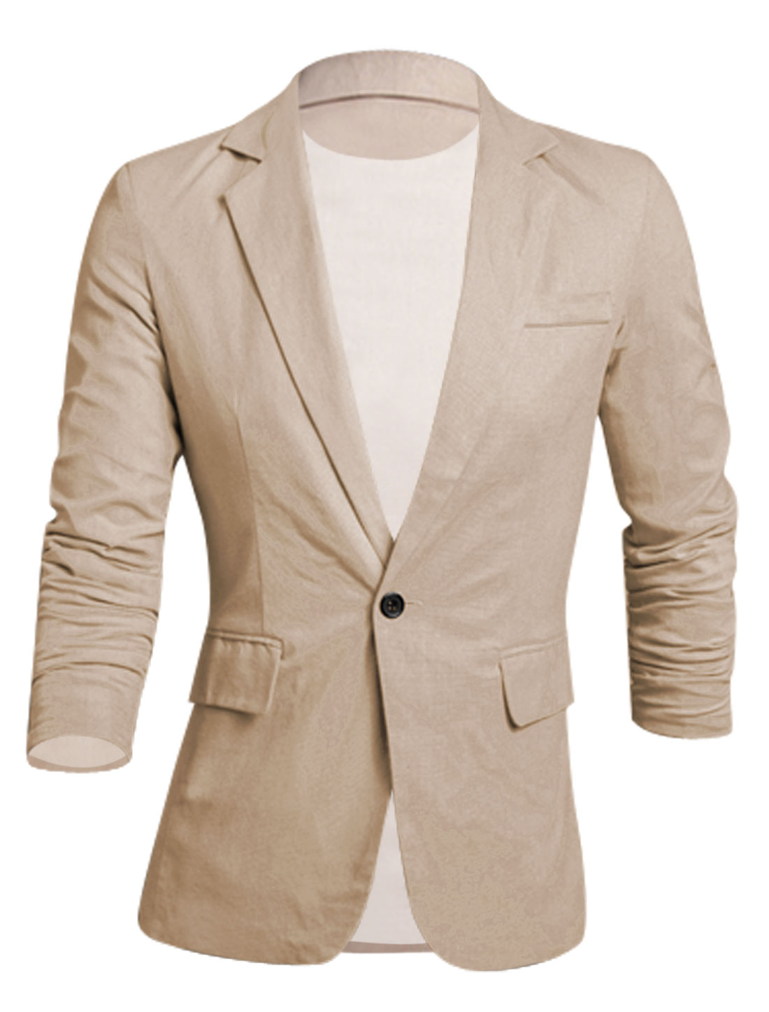 Men Newly Button Closure Fake Chest Pocket Slim Cut Linen Blazer Khaki M