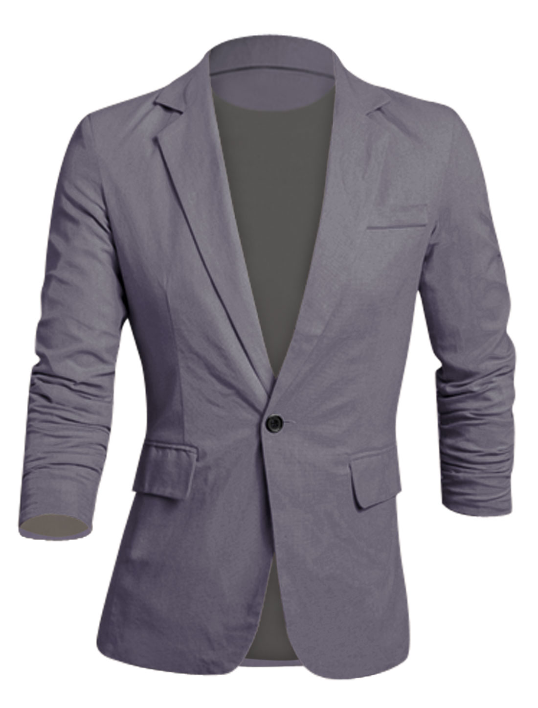 Men Newly Long Sleeves Full Lined Padded Shoulder Slim Cut Linen Blazer Dark Gray M