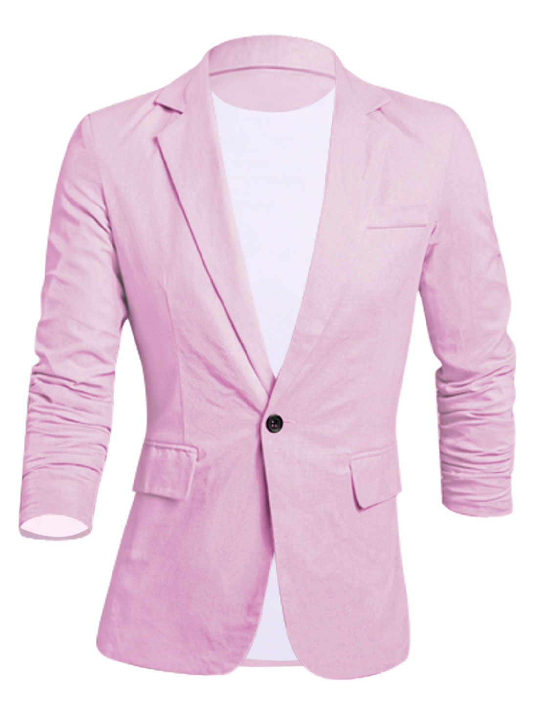 Men Notched Lapel Full Lined Long Sleeves Slim Cut Linen Blazer Pink M