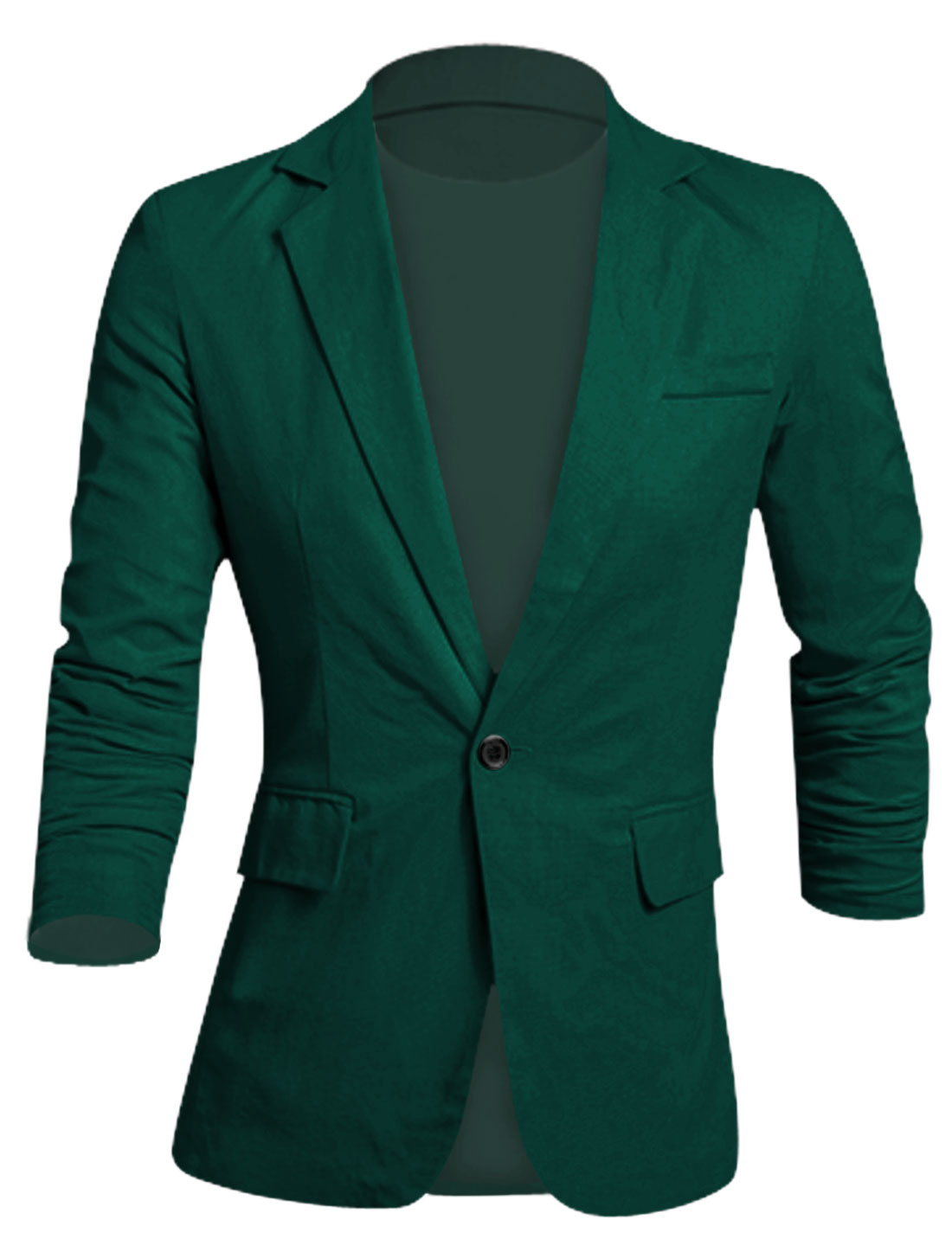 Men Notched Lapel Full Lined Button Decor Cuffs Slim Linen Blazer Dark Green M