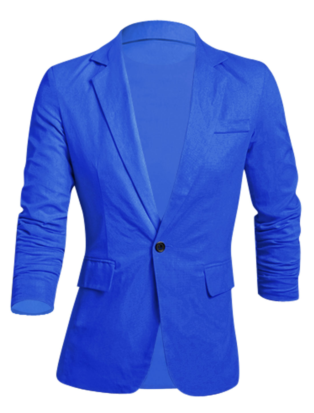 Men Notched Lapel Full Lined Padded Shoulder Slim Linen Blazer Royal Blue M