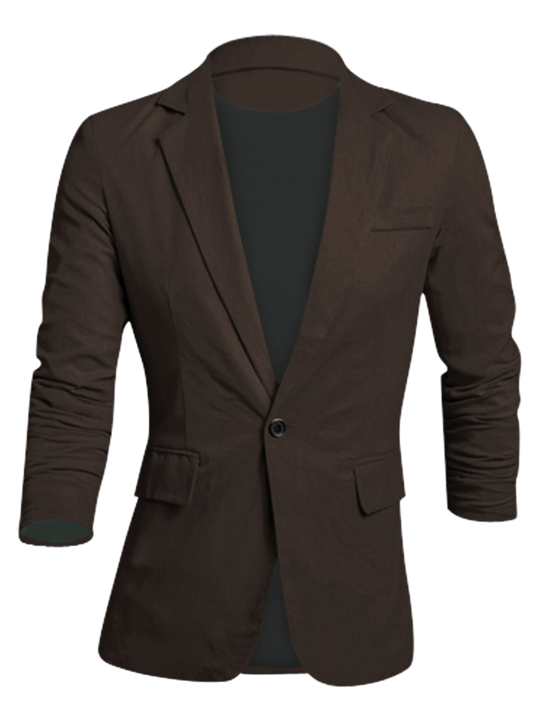 Men Notched Lapel Padded Shoulder Slim Cut Linen Blazer Coffee M