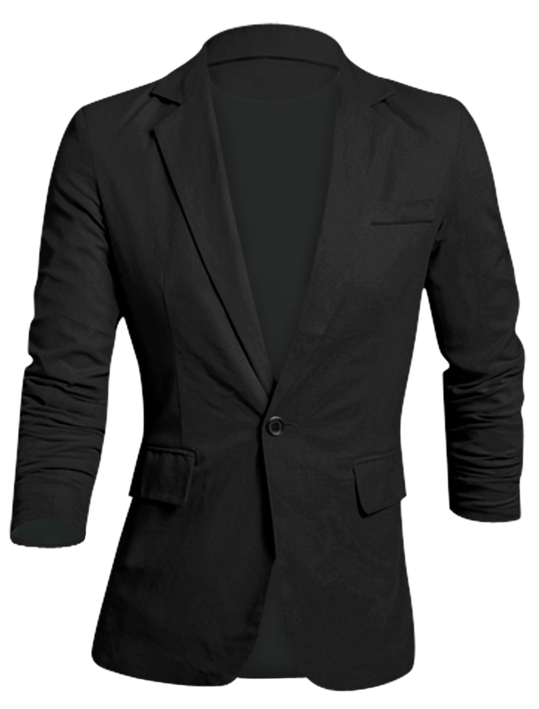 Men Notched Lapel One Button Closure Slim Cut Linen Blazer Black M