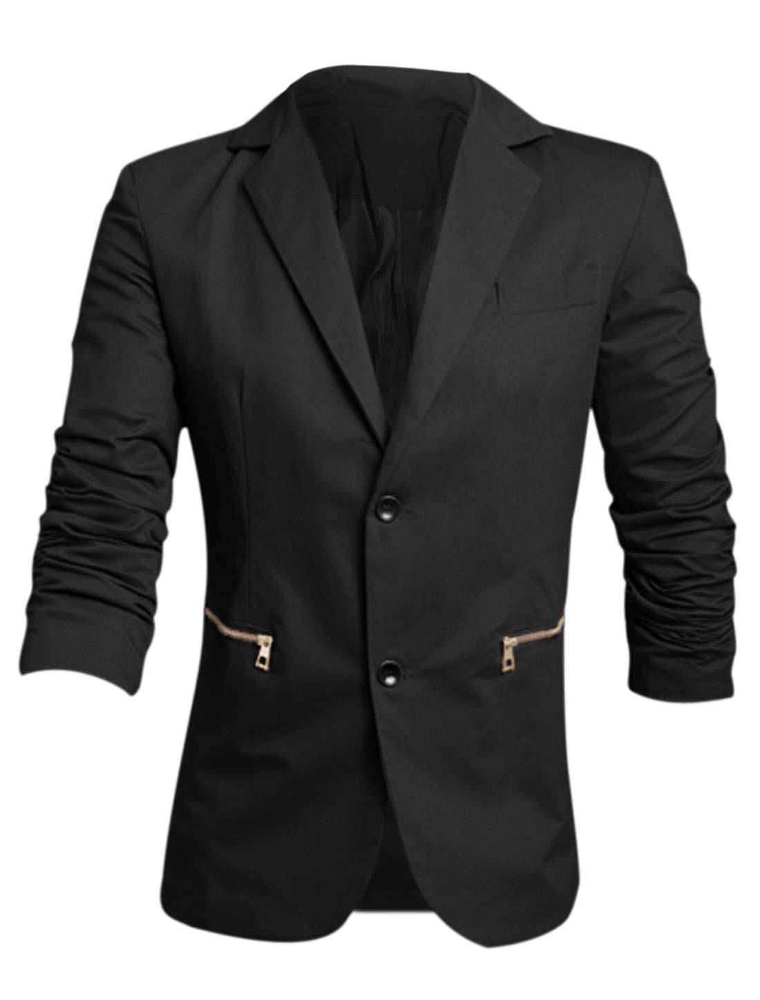 Men Notched Lapel Long Sleeve Button Decor Cuffs Casual Blazer Black M