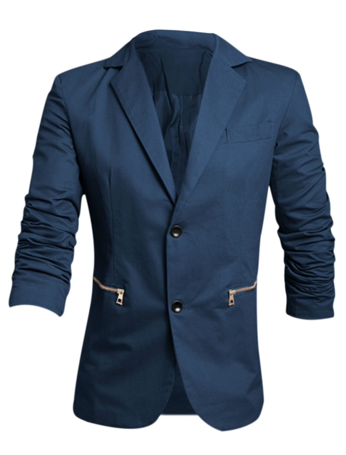 Men Notched Lapel Button Down Button Decor Cuffs Casual Blazer Navy Blue M