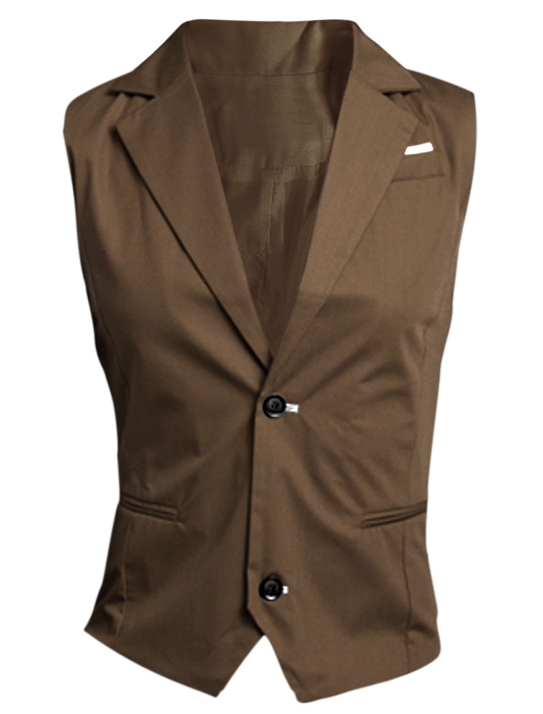 Men Khaki Single Breasted Mock Pockets Contrast Chest Details Vest M