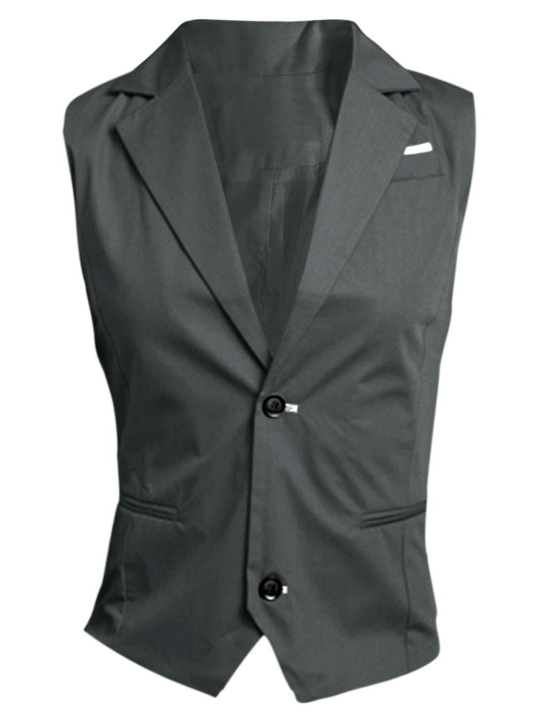 Men Dark Gray Button Closure Mock Pockets Contrast Chest Details Vest M