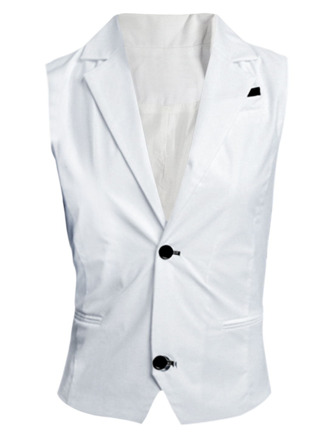 Men White Single Breasted Slim Fit Contrast Chest Details Casual Vest M