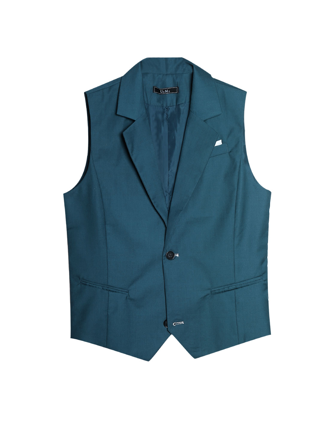 Men Navy Blue Green Button Closure Notched Lapel Mock Pockets Slim Cut Vest M
