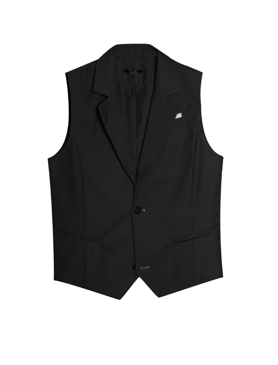 Men Black Single Breasted Mock Pockets Contrast Chest Details Two Buttons Vest M