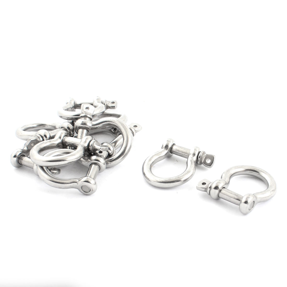 10PCS Silver Tone Stainless Steel Wire Rope Fastener Bow Shackles M6 Thread