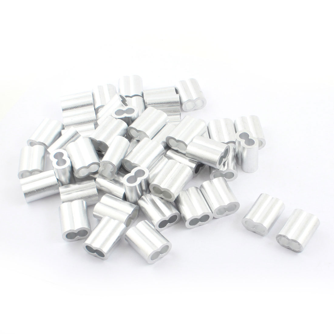 "50Pcs 3/8""x 1 1/8"" Aluminum Hourglass Ferrules Sleeve Crimp for 8mm Wire Rope"