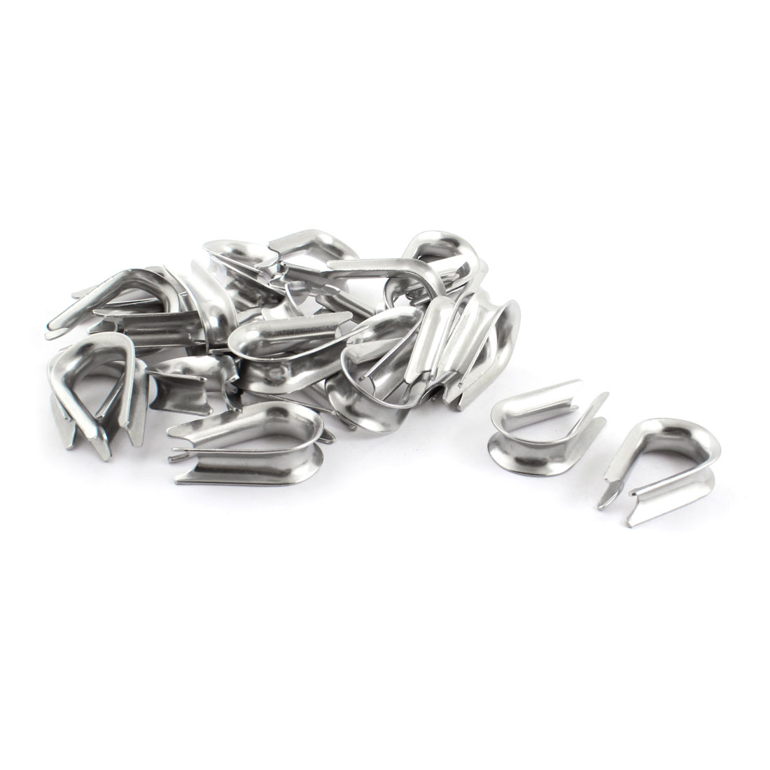 25PCS Silver Tone Stainless Steel Cable Thimbles for 10mm 2/5 Inch Wire Rope