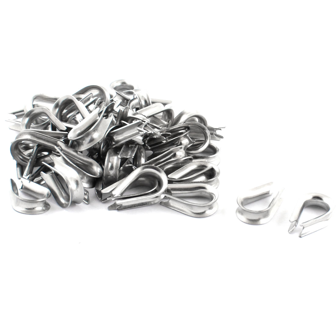 50PCS Silver Tone Stainless Steel Cable Thimbles for 5mm 1/5 Inch Wire Rope