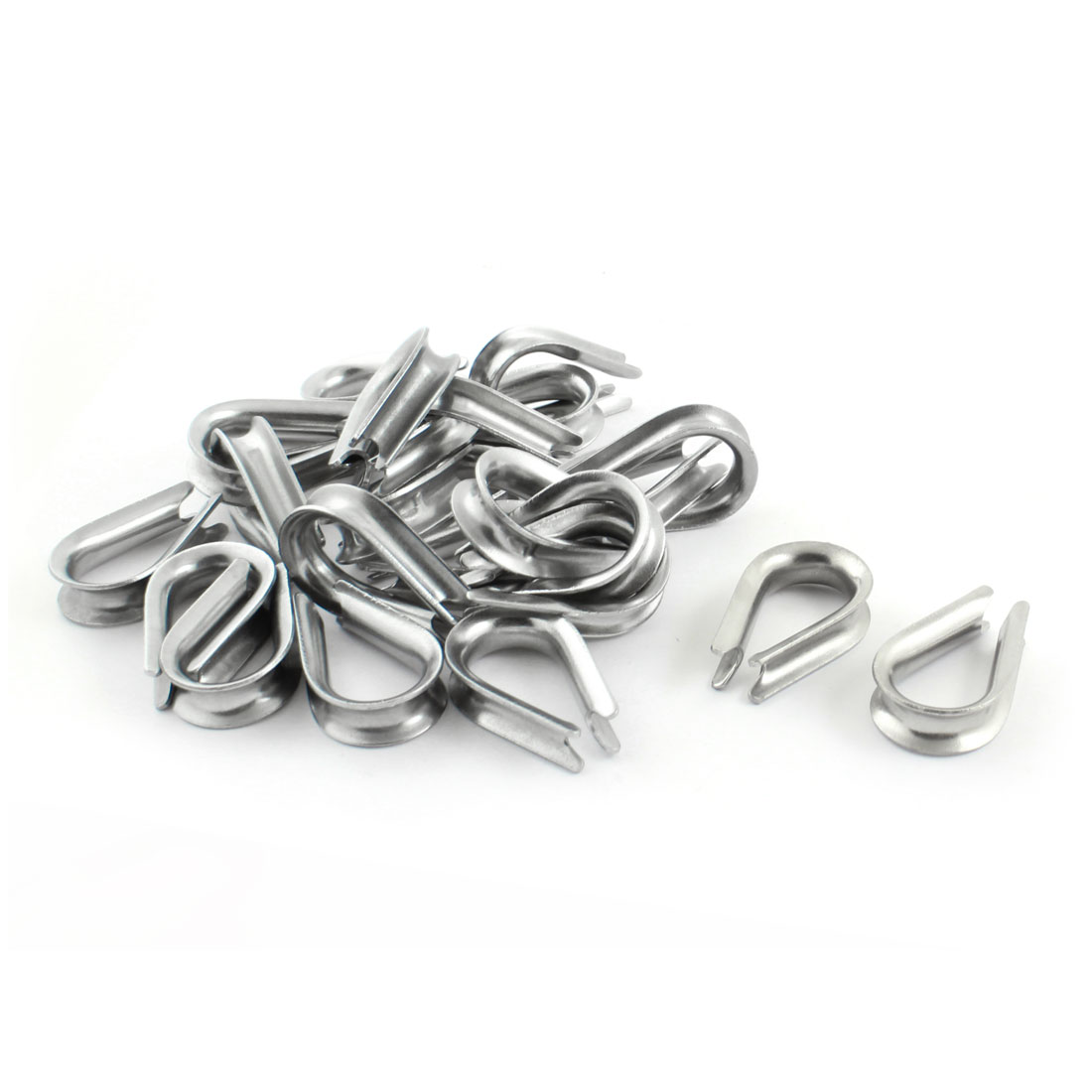 25PCS Silver Tone Stainless Steel Cable Thimbles for 8mm 3/8 Inch Wire Rope