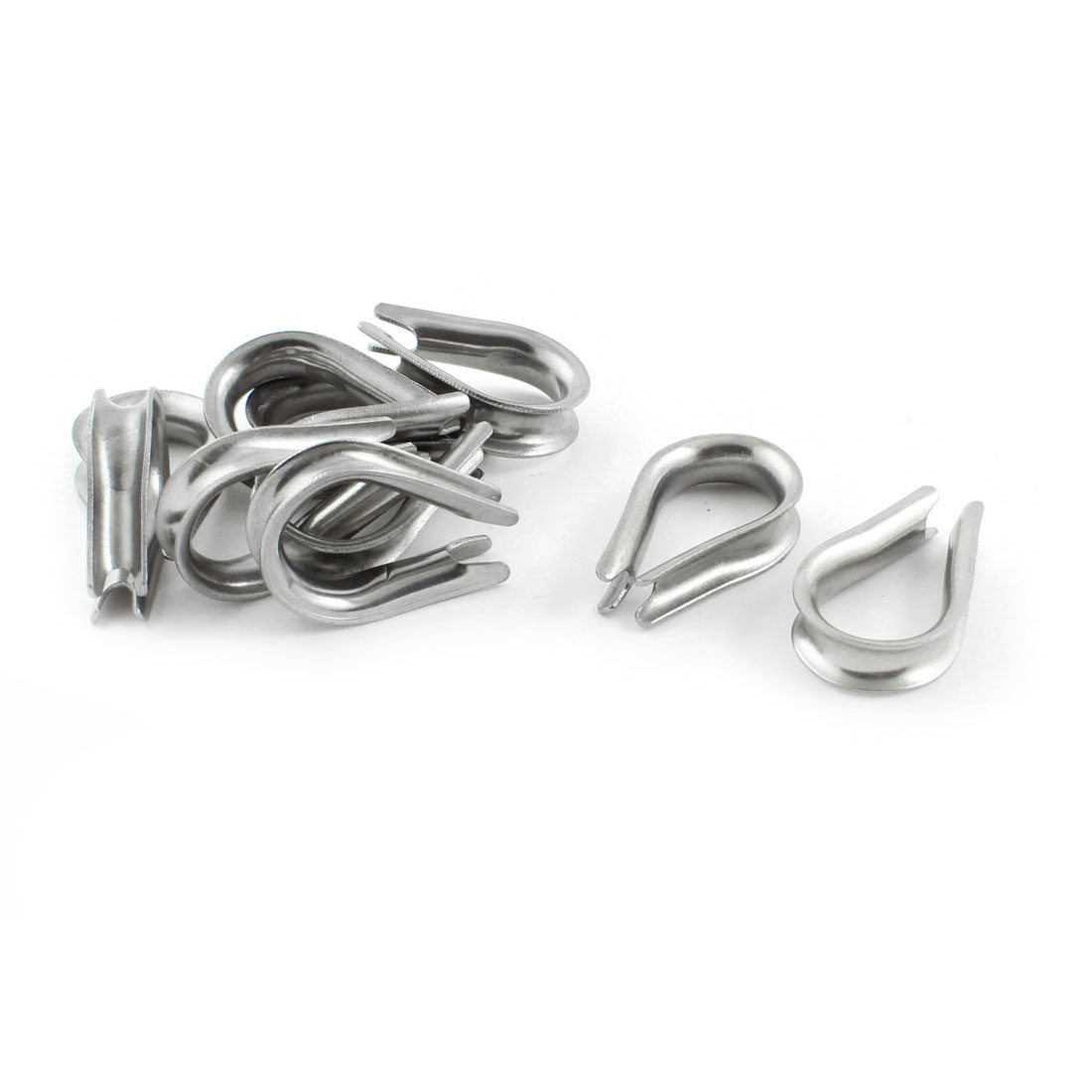 10PCS Silver Tone Stainless Steel Cable Thimbles for 6mm 1/4 Inch Wire Rope